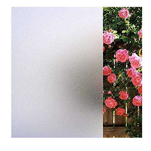 "MUWENTY Privacy Window Film, Frosted Non Adhesive Window Sticker Static Cling Glass Film for Home Bathroom Living Room Kitchen Office Meeting Room Glass Door (Matte White,17.7"" × 78.7"")"