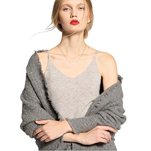 FINCATI Crop Tops Vest Cashmere 2018 Women Spring Autumn Spaghetti Strap Soft Sexy Slim V Neck Sexy Sales (Gray, L) (Cashmere Crop)