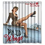 "POOKOO!! Pin-up Wings Personalized Custom 66"" x 72"" Waterproof Polyester Fabric Shower Curtain"