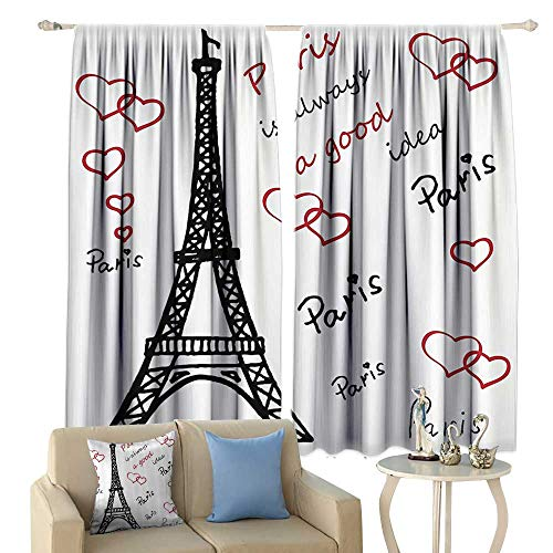 Eiffel Tower Decor Thermal Insulated Drapes for Kitchen/Bedroom Eiffel Paris is Always a Good Idea Tourism Locations Love Valentines Noise Reducing