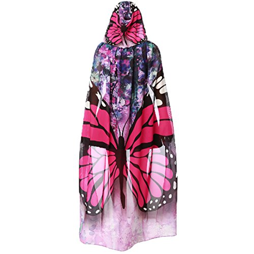 Women's Novelty Butterfly Wing Print Hooded Capes Chiffon Cloak Costume Accessory Party Prop Cosplay (Rose Butterfly)