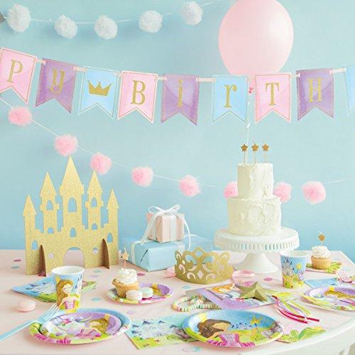 Unique Party 58378-Decoración para mesa de castillo de princesa, 35 cm, dorado, color (58378)