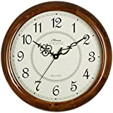HENSE Retro Vintage European Style Living Room Large Decorative Round Wall Clocks Concise 15-inch Mute Silent Quartz Movement Kitchen Decoration Wall Clock with Sweep Second Hand Soild Wood Wall Clock HW18 (Brown)