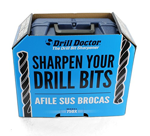 Drill Doctor 750X Drill Bit Sharpener for High-Speed Steel, Masonry, Carbide, Cobalt, & TiN-coated Drill Bits, with Adjustable Angles from 115° to 140°, Sharpens 3/32in – 3/4in Drill Bits