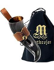 Mythrojan Large Viking Drinking Horn with Belt Loop Authentic Medieval Inspired Viking Wine/Mead Mug