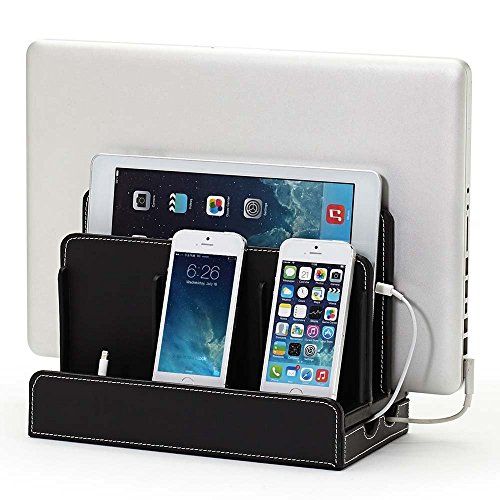 Charging Station Dock & Organizer - Multiple Finishes Available. For Laptops, Tablets, and Phones - Strong Build, Black Leatherette (Cell Phone Organizer)
