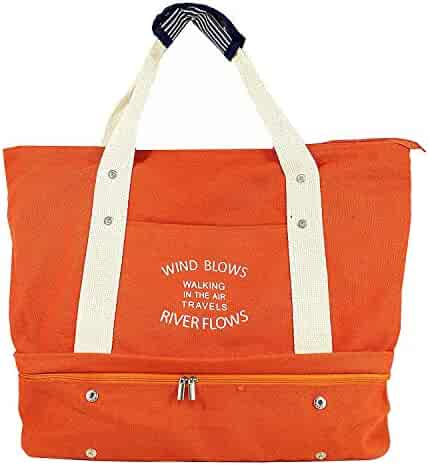 Women s Canvas Travel Tote Bag Carry On Weekend Duffel with Shoes  Compartment Overnight Bags with Trolley 2e483fad02a31