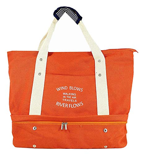 Women's Canvas Travel Tote Bag Carry On Weekend Duffel with Shoes Compartment Overnight Bags with Trolley Sleeve (Orange) from Mladen