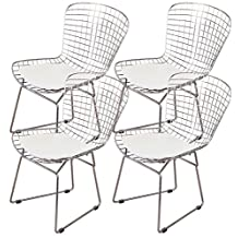 OCC set of 4- Harry Bertoia Chromed Steel Wire Frame Side Chairs with Leatherette PU Pad, White
