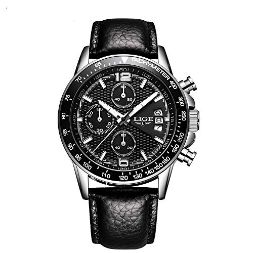 Quartz Chronograph Waterproof Watches Business and Sport Design Leather Band Strap Wrist Watch (Black)