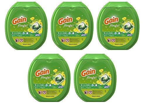 Gain LDSPC Flings Laundry Detergent Packs, Original, 81 Count (5 Pack) by GAIN