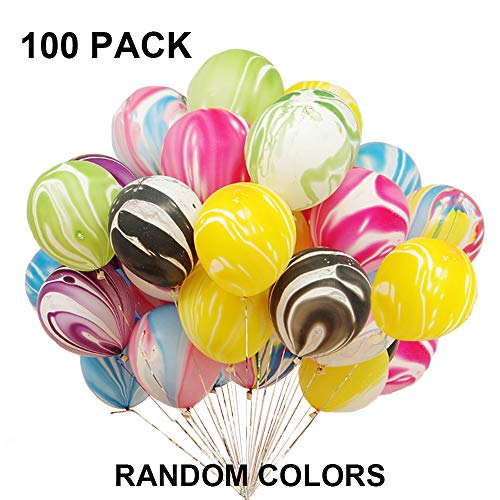 Latex Balloons Rainbow Agate Party Balloons For Wedding Birthday Baby Shower Holiday Christmas Party Decorations Supplies Women Girls Kids Shiny Random Color Metallic Pearlescent Balloons 100 Pack