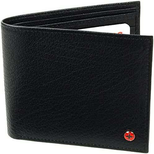 Alpine Swiss European Leather Wallet Oversized to Fit Euro & Pounds Commuter Trifold Bifold Hybrid