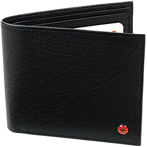 Alpine Swiss European Leather Wallet Oversized to Fit Euro & Pounds Commuter Trifold Bifold Hybrid (Swiss Alpine Trifold Wallet)