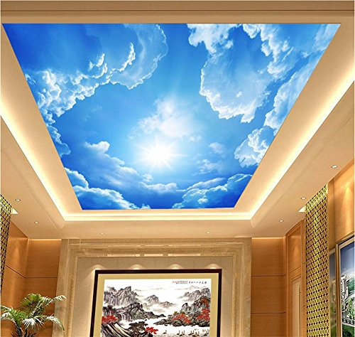 Blue Space Wallpaper Border (Wallpaper PVC self-adhesive wallpaper 3D blue sky white clouds decoration living room restaurant TV wall ceiling wallpaper / square meters)