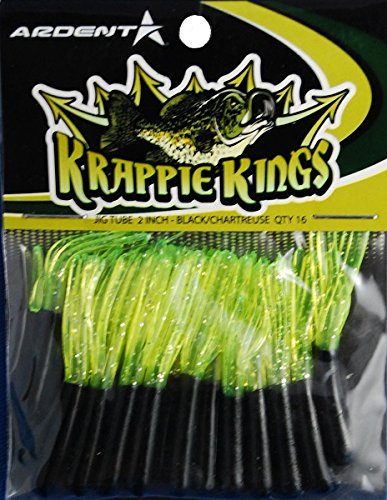 Krappie Kings Crappie/Panfish Jig Tube, Black/Chartreuse, 2