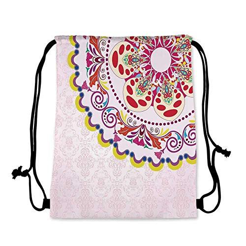 (Floral Practical Drawstring Bag,Vintage Flower Wreath on Damask Background Flowers Romance Art Display for Women,17.7''L x 36''W )