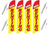 Four Full Sleeve Swooper Flags w/ Poles & Spikes NOW RENTING Alternating Yellow Red