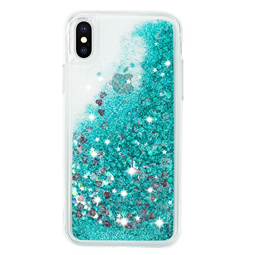 """Sparkle Glittery - iPhone X case, iPhone 10 case quicksand glitter bling TPU case, flowing liquid sparkle case for iPhone X 5.8"""" (Turquoise)"""