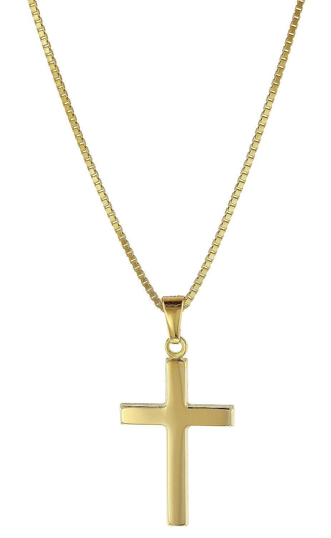 trendor Kreuz Gold 333 mit goldplattierter Kette für Kinder und Damen 08500