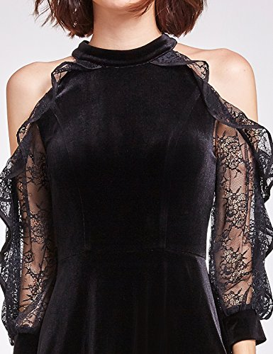 Party Pan Velvet Christmas 05896 Dress Shoulder Black Alisa Cold XzTRqgx1xw