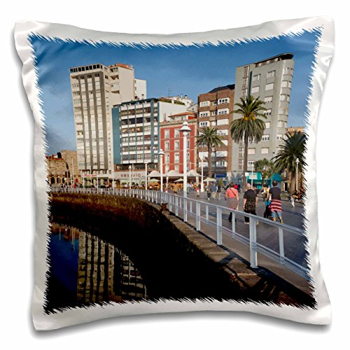 3dRose Spain, Gijon, Cimadevilla, Puerto Deportivo Port-Eu27 Wbi1248-Walter Bibikow Pillow Case, 16 x 16'' by 3dRose