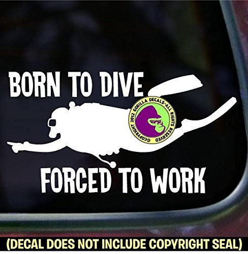 BORN TO DIVE Scuba Diver Diving Vinyl Decal Sticker C