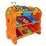 Kids 3-Tier Toy Storage Organizer for Kids Storage Organizer with Bins (Color : Orange, Size : 79 * 95 * 45CM)
