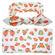 Bigface Up Set of 1 or 3 Swaddle Sack,Newborn Baby Sleep Blanket With Headband orange