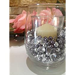 500pc Small Pearls & Diamond Gem Table Confetti/Scatters Gray & Silver Pearls, No Hole Pearls, Fillers For Candle Vases & Small Containers