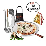 TigerChef TC-20527 Homemade Pizza Making Kit, 6-Piece Pizza Pro Set, Includes 18'' Single Portion Pizza Pan, Pizza Screen, Pizza Wheel, Pizza Server, Sauce Ladle, Apron