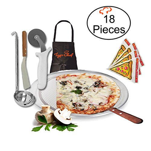 TigerChef TC-20416 Homemade Pizza Making Kit, 6-Piece Pizza Pro Set, Includes Kitchen Tools Single Portion Pizza Pan, Pizza Screen, Pizza Wheel, Pizza Server, Sauce Ladle, Apron and How to Make Your Own Pizza Guide