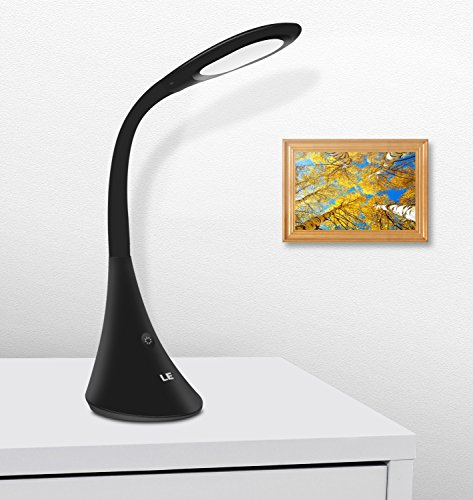 LE Dimmable LED Desk Lamp, 3 Brightness Levels, Eye Protection Design Reading Lamp, Touch Sensitive Control, Portable Table Lamp, Bedroom Lamp, Black