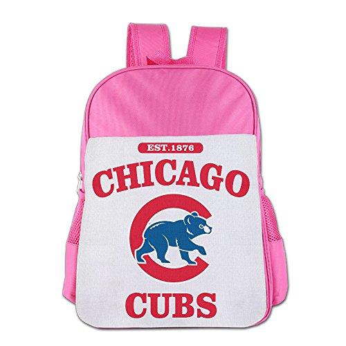 ElishaJ Boys/Girls Chicago Sport Baseball Team Teenager School Backpack For 4-15 Years Old Pink