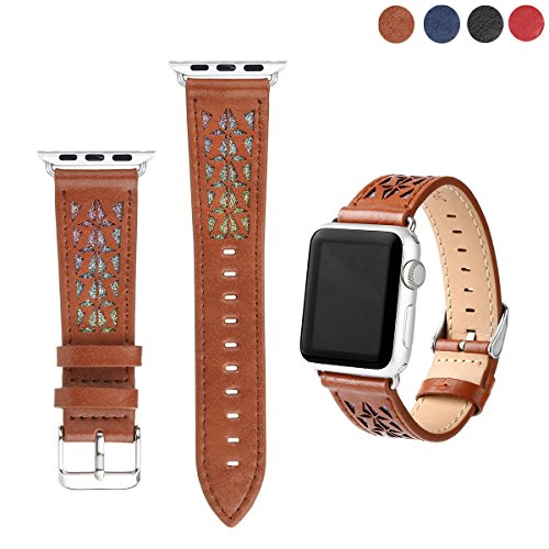 MIFFO Apple Watch Band 38mm 42mm, Durable Fashion Bling Applique Genuine Leather iWatch Strap Replacement for Apple Watch Series 3 Series 2 Series 1 Sport & Edition (Brown, 38mm) -