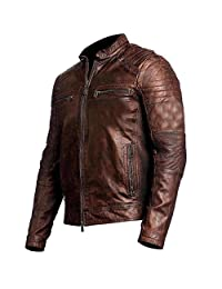 UK Flag Cafe Racer Union Jack Genuine Antique Brown Motorcycle Leather Jacket