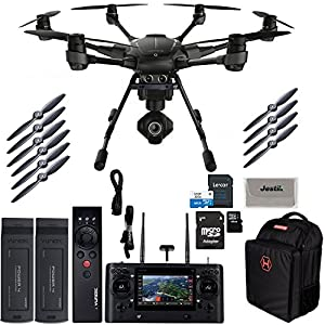 Yuneec Typhoon H PRO Hexacopter with Intel RealSense Collision Avoidance Drone with CGO3+ 4K Camera, ST16, 2 Batteries, Backpack, Wizard Plus Free 64GB Micro SD and Jestik Microfiber Cloth by Yuneec
