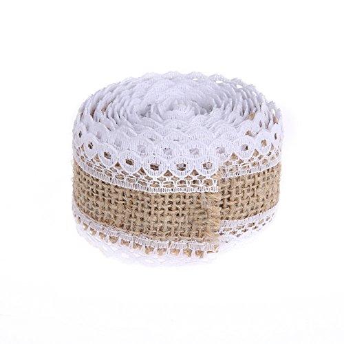 ge Lace Linen Roll Rustic Wedding Decoration DIY Christmas Wedding Party Decoration Jute Burlap Roll Crafts[2] ()