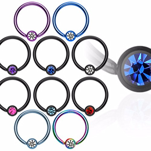 Titanium IP Over 316L Surgical Steel Freedom Fashion Captive Bead Ring with gem (Sold by Piece)