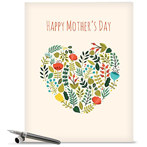 J2364KMDG Jumbo Mother's Day Card: Grateful Greetings Featuring Images of Sweet Floral Sprays Surrounding the Words Thank You, With Envelope (Extra Large Version: 8.5'' x 11'')