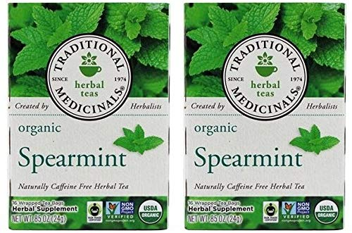Traditional Medicinals Organic Spearmint Herbal Tea (Pack Of 2) With An Aromatic, Minty and Sweet Flavor, 16 Count ()