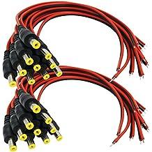 igreeman 20Pack Macho DC Power Pigtail Cables con conectores 2,1mm Barrel Jack estañado Conducir para el hogar Seguridad Cámara de vigilancia y tira de iluminación de fiesta