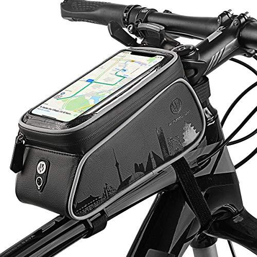 (Wallfire Bike Phone Mount Bag, Bicycle Frame Bike Handlebar Bags with Waterproof Touch Screen Phone Case)