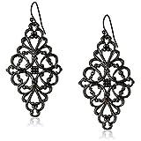 1928 Jewelry Black-Tone Filigree Diamond Drop Earrings