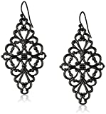1928 Jewelry Black-Tone Filigree Diamond Drop Earrings