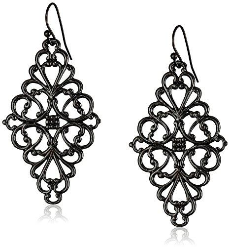 - 1928 Jewelry Black-Tone Filigree Diamond Drop Earrings