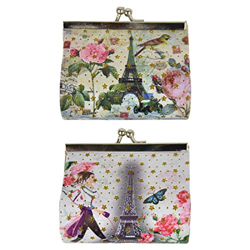 Coin Purse with Eiffel Tower - Set of 2 - Bird & Butterfly (Set Bird Coin)