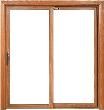 Puertas correderas de aluminio de color madera con cristal ...
