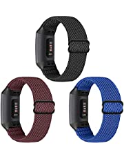 WNIPH Elastic Nylon Braided Bands Compatible with Fitbit Charge 4/Charge 4 SE/Fitbit Charge 3/Charge 3 SE, Soft Breathable Adjustable Stretchy Sports Loop Straps Women Men Replacement Wristband