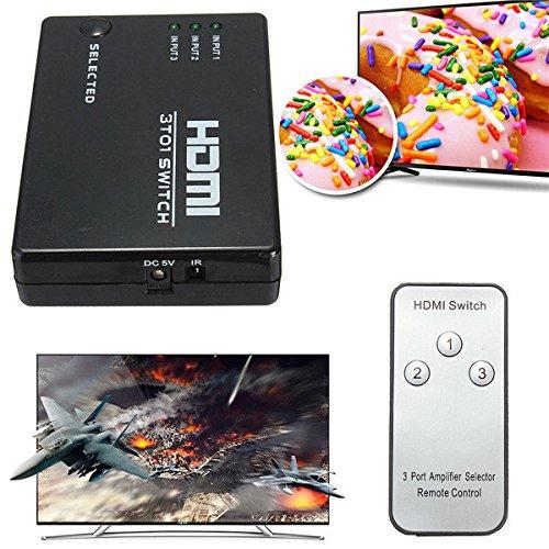 Doradus 3 Eingang Ports Way HDMI Splitter Hub Switch Port mit Fernbedienung für HDTV PS3 Wii U Xbox 360